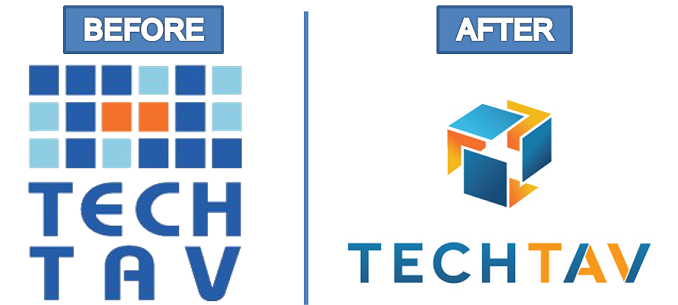 Tech-Tav logo before and after
